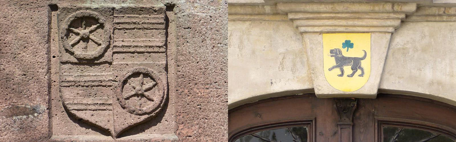 Gemeindewappen in Sandstein und auf Stein gemalt