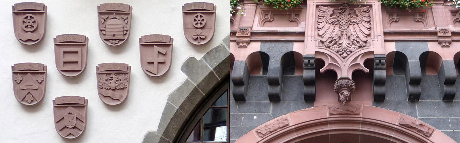 Stadtwappen und Gemeindewappen in Sandstein