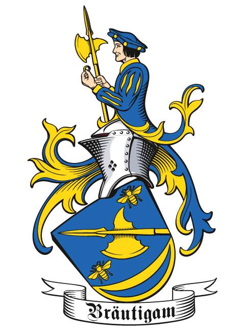 Wappen der Familie Bräutigam, seitlich mit Stechhelm und geneigtem Schild