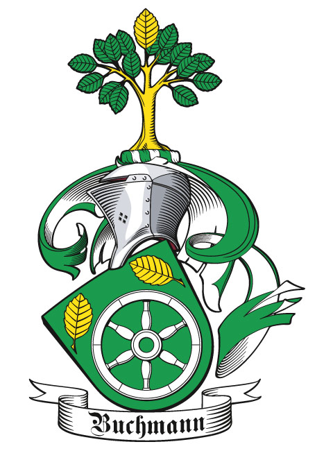 Wappen der Familie Buchman, seitlich mit Stechhelm und geneigtem Schild