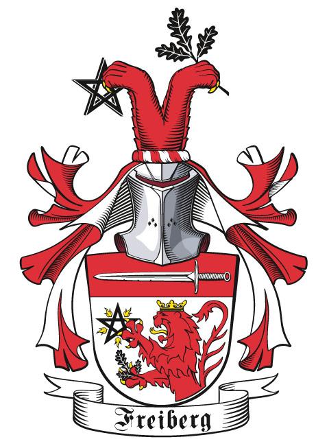 Wappen der Familie Freiberg, frontal mit Stechhelm