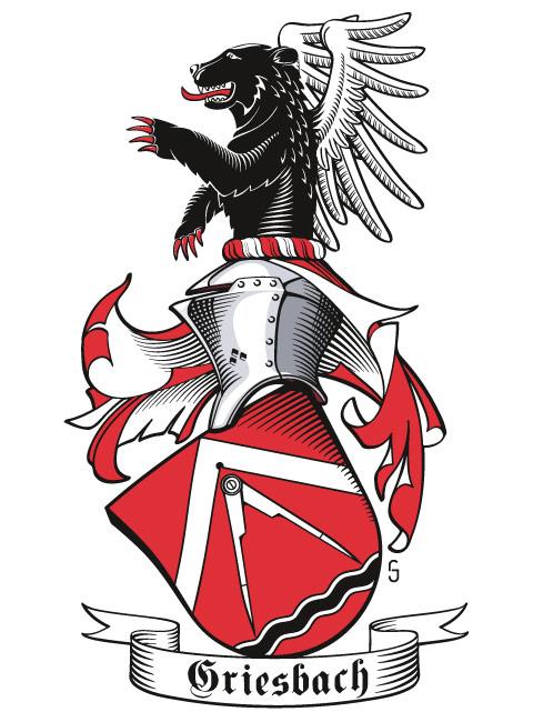 Wappen der Familie Griesbach, seitlich mit Stechhelm und geneigtem Schild