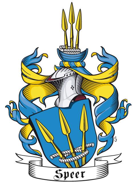 Wappen der Familien Speer, halb-seitlich mit Stechhelm und geneigtem Schild