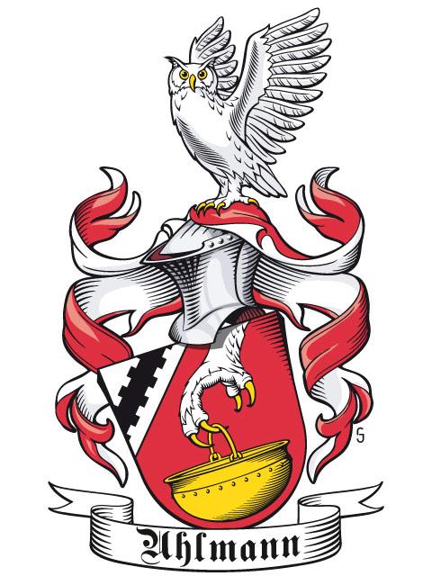 Wappen der Familie Uhlmann, halb-seitlich mit Stechhelm und geneigtem Schild