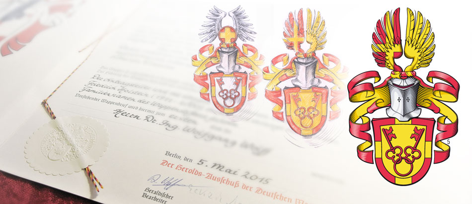 Familienwappen-Entwürfe und finales Familienwappen vor Wappenbrief