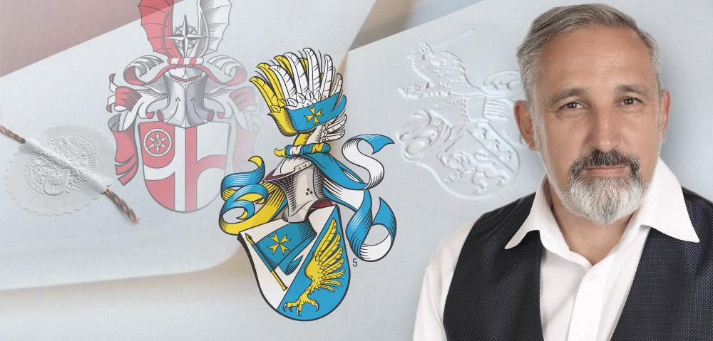 Michael Holstein und eigenes Wappen vor Wappenprägungen